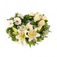 White Lily Rose Funeral Wreath