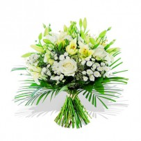 White Lily Rose Funeral Bouquet